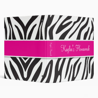 Zebra and Hot Pink Binder 1 inch