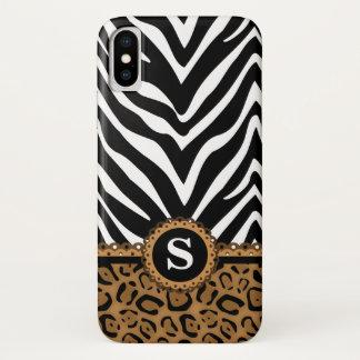 Zebra and Leopard Print Monogram iPhone X Case