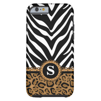 Zebra and Leopard Print Monogram Tough iPhone 6 Case