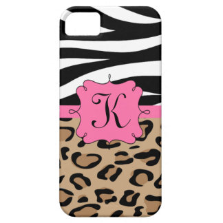 Zebra and Leopard Print Personalized Monogram iPhone 5 Case
