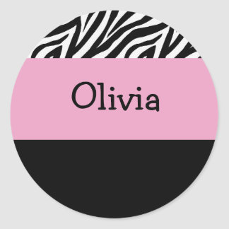 Zebra and pink sticker