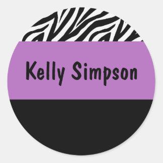 Zebra and purple personalized sticker