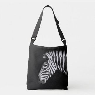 Zebra Animal Portrait on Black Crossbody Bag