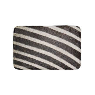Zebra Animal Print Black & White Bath Mat