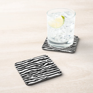 Zebra Animal Print Black White Stripes Pattern Beverage Coasters