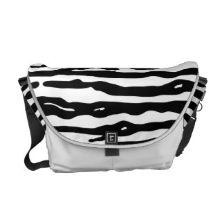 Zebra Animal Print Black White Stripes Pattern Courier Bags