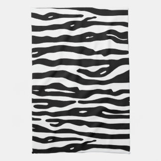 Zebra Animal Print Black White Stripes Pattern Hand Towels