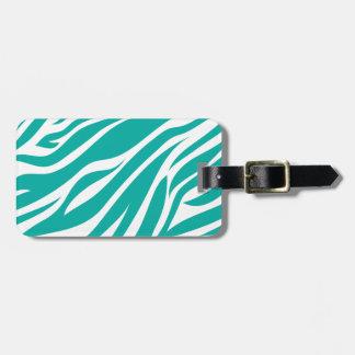 Zebra Animal Print in Teal Blue Luggage Tag