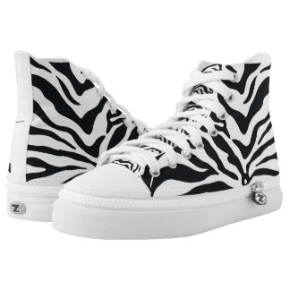 Zebra Animal Print Pattern High Top Sneakers