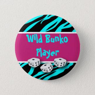 Zebra Animal Print Wild Bunko Player 2 Inch Round Button