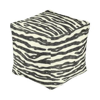 Zebra Animal Print Wildlife Black Ecru Stripes Pouf