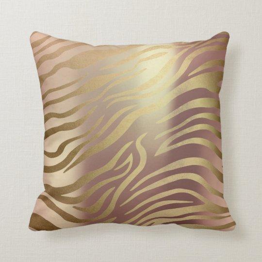 Zebra Animal Skin Gold Pink Rose Blush Pearly Glam Throw Pillow