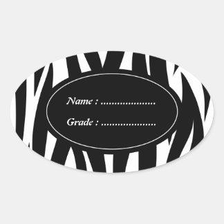 Zebra animal stripes pattern oval sticker