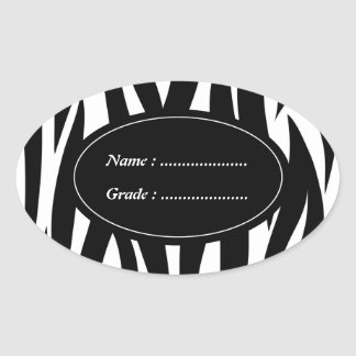 Zebra animal stripes pattern oval sticker
