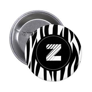 """Zebra animal stripes with """"Z"""" monogram 2 Inch Round Button"""