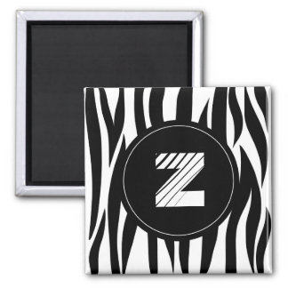 Zebra animal stripes with Z monogram Magnet