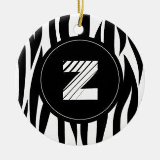 "Zebra animal stripes with ""Z"" monogram Ornament"