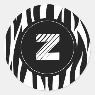 """Zebra animal stripes with """"Z"""" monogram Round Sticker"""