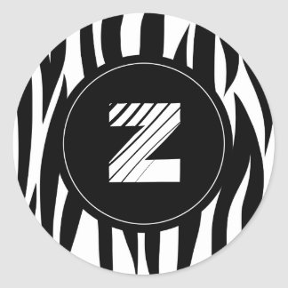 "Zebra animal stripes with ""Z"" monogram Classic Round Sticker"
