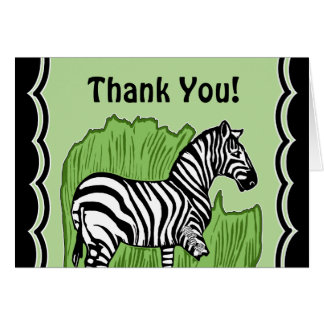 Zebra Art Green and Black Thank You Greeting Card