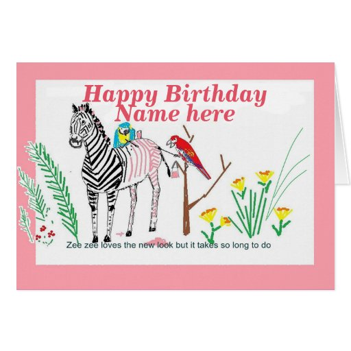 Zebra At The Salon, Funny Birthday, For Her. Greeting Card
