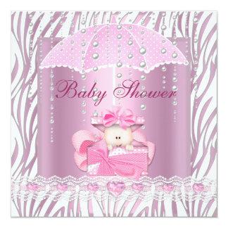 Zebra Baby Shower Girl Baby Pink Umbrella White Card