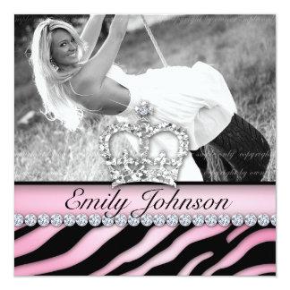 "Zebra Birthday Party Pink Jewelry Sweet Sixteen 5.25"" Square Invitation Card"