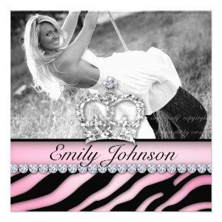 Zebra Birthday Party Pink Jewelry Sweet Sixteen Personalized Invitation