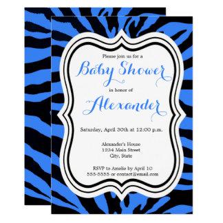 Zebra black and blue modern boy baby shower card