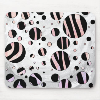 Zebra Black and Pink Print Mousepads