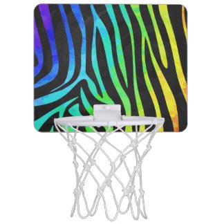 Zebra Black and Rainbow Print Mini Basketball Hoop