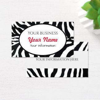 Zebra Black and White Animal Print Business Card