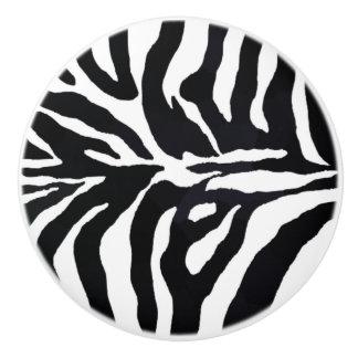Zebra Black and White Animal Print Cabinet Pulls Ceramic Knob