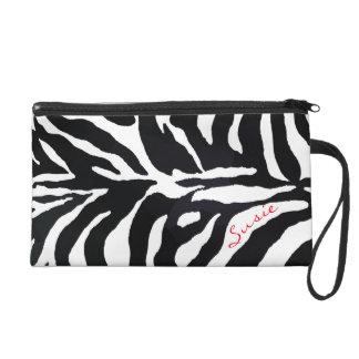 Zebra Black and White Animal Print Monogram Purse Wristlet Clutch