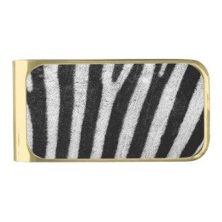 Zebra Black and White Striped Skin Texture Templat Gold Finish Money Clip
