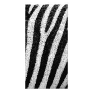 Zebra Black and White Striped Skin Texture Templat Photo Greeting Card