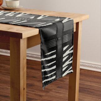 Zebra Black Silk Pattern Short Table Runner
