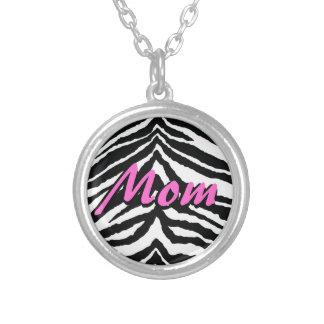 Zebra Black/White/Pink Mom Round Pendant Necklace