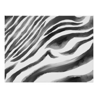 Zebra black/white water poster