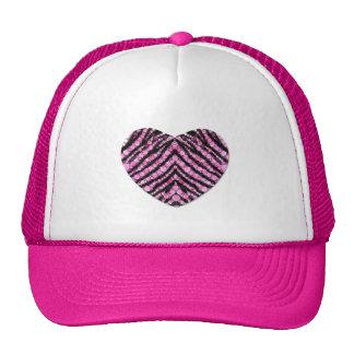 Zebra Bling Heart Trucker Hat