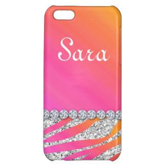 Zebra Bling iPhone 5 Case Cover Cute Orange Pink
