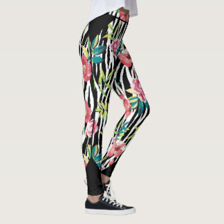 Zebra Bloom (Black) Leggings