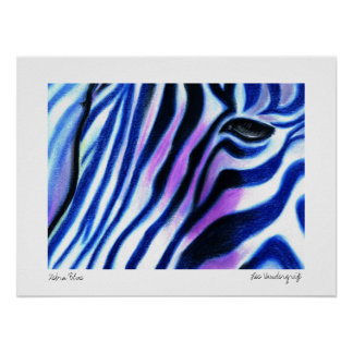 Zebra Blue poster by Lee Vandergrift