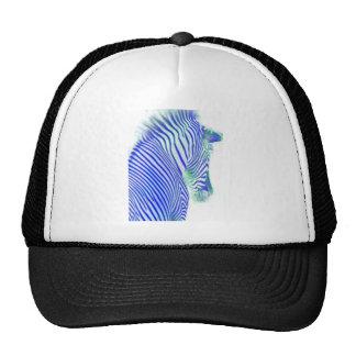 zebra blue trucker hat