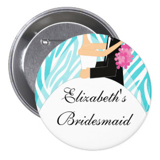 Zebra Bride Bridesmaid  Button / Pin Turquoise