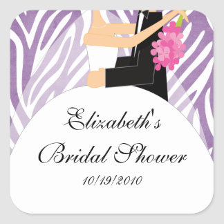 Zebra Bride Groom Bridal Shower Sticker Purple