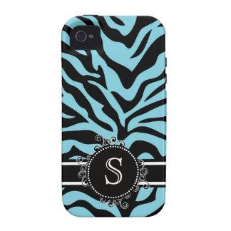 Zebra Bright Blue and Black with Monogram iPhone 4 Case