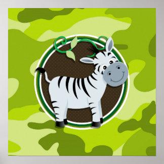 Zebra bright green camo camouflage posters