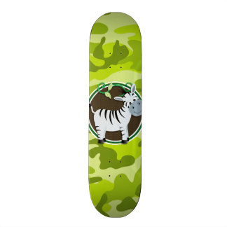 Zebra bright green camo camouflage custom skate board