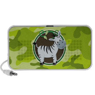 Zebra; bright green camo, camouflage laptop speakers